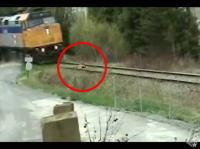 線路に寝転がって電車をやり過ごす男のムービー