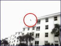 ビルの6階からプールに飛び込む男 プールサイドギリギリこええ