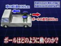 実験!100km/hで走る車から逆方向に時速100kmのボールを投げると?